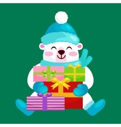 Cute Christmas bears during the winter holidays vector image