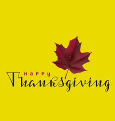 happy thanksgiving calligraphy text and autumn vector image