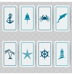 nautical invitation card set vector image