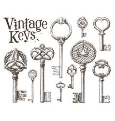 Retro key logo design template antiques or vector