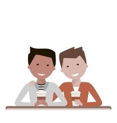 Two Man Friends Drinking Coffee vector image vector image