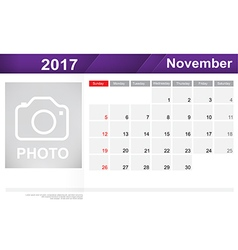 Year 2017 November month simple and clear design vector image