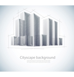Buildings in sketch vector image