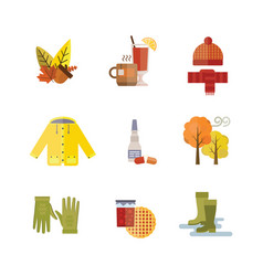collection of autumn clothes set the fall leaves vector image