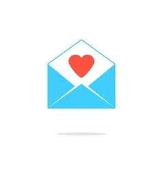 open blue letter with red heart vector image