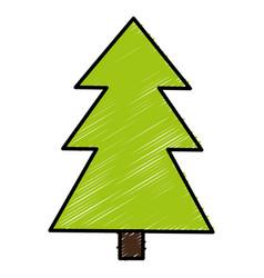 Pine tree plant isolated icon vector