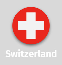 switzerland flag round icon vector image vector image