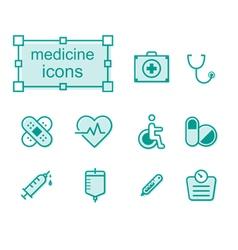 Thin line icons set medicine vector