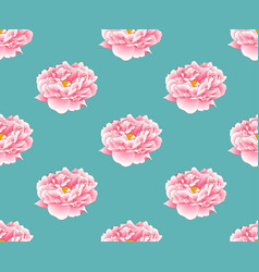 pink peony on green teal background vector image vector image