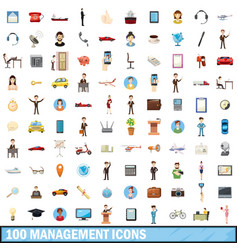 100 management icons set cartoon style vector image