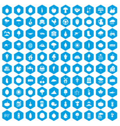 100 productiveness icons set blue vector