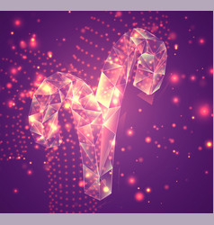 3d symbol volumetric object on a pink background vector