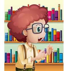 A male librarian inside the library vector