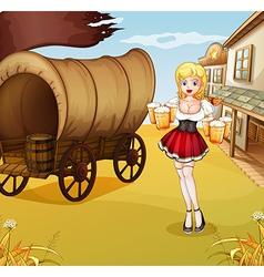 A sexy waitress beside the wagon vector