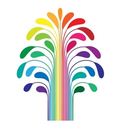 abstract simple stylized tree rainbow color vector image