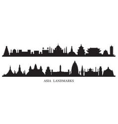 Asia skyline landmarks silhouette vector