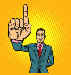 attention gesture man index finger up vector image