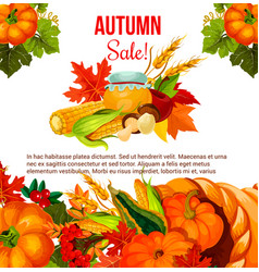 autumn sale offer poster for thanksgiving holiday vector image