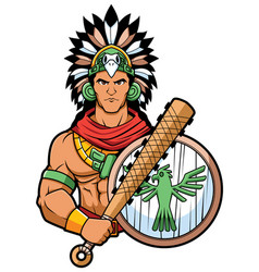 aztec warrior mascot vector image