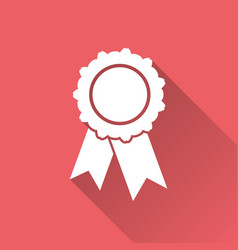 Badge with ribbon icon in flat style on red vector