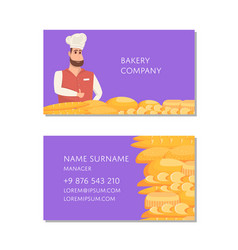 Bakery company business card template vector