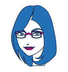 beauty woman face with glasses and blue hair vector image