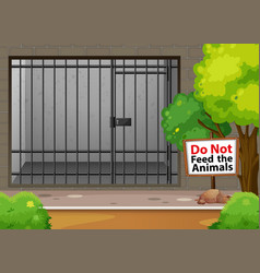 Big cage for animal at zoo vector