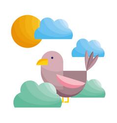 Bird feather bushes clouds sun nature fauna vector