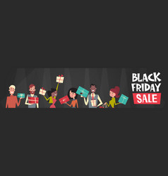 black friday sale text over group of people vector image