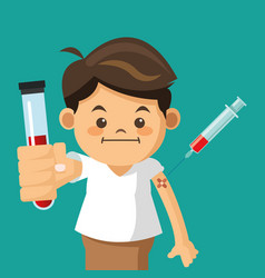 Boy holding tube test with syringe vector