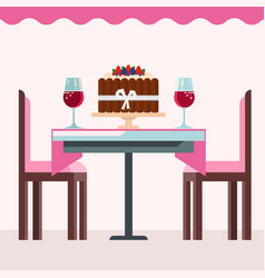 Cafe interior with birsday cake glasses wine vector