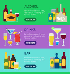 cartoon alcoholic beverages banner horizontal set vector image