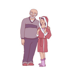 cartoon father hugs daughter girl at home vector image