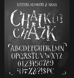 Chalk latin serif alphabet in grunge style vector