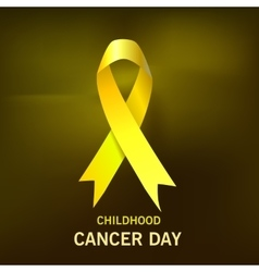 Childhood cancer day yellow ribbon on dark vector