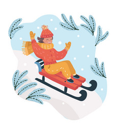 children on a sled ride with mountain vector image