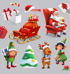 Christmas and new year santa claus sleigh gifts vector