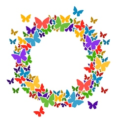 Circle frame with butterflies for your text vector