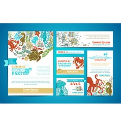 Corporate underwater sea life templates set vector image