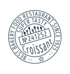 Croissant round stamp icon vector