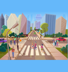 crowd of cartoon people walking on urban modern vector image