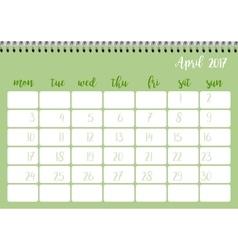 Desk calendar template for month april week vector