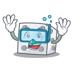 Diving dice character cartoon style vector