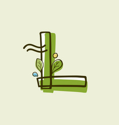 Eco style letter l logo hand-drawn with a marker vector