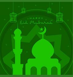 Eid mubarak green background with mosque vector