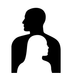 female face in profile on a background male vector image