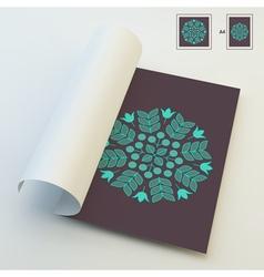 Floral elements textbook booklet notebook mockup vector