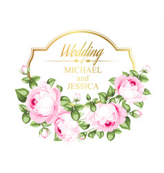 flower garland for invitation card wedding card vector image