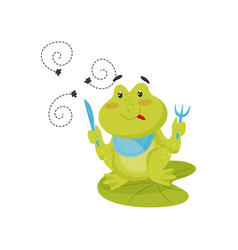 funny green frog sitting on lotus leaf with knife vector image