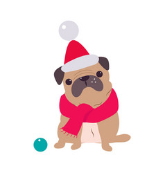 funny pug dog in red santa hat and scarf symbol vector image
